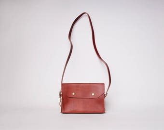 Leather Crossbody Purse Mahogany Red   Red Leather Purse   Minimalist Leather Purse   Red Leather Handbag