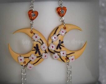 Large peach Moonstone earrings