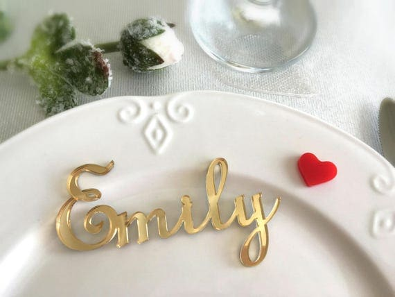 Wedding place cards Laser cut names Personalised wedding Gold mirror acrylic names Laser cut signs Wedding centerpiece Wedding table signs
