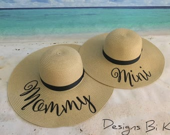 Personalized straw hats, Mother and daughter hat, Mommy and me set, Matching set, Mother daughter straw hat, Floppy beach hat, Gift for her