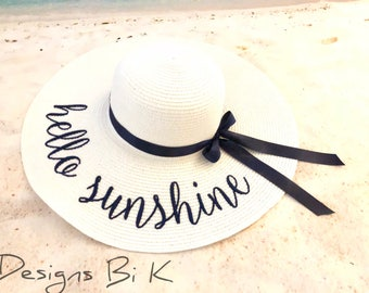 Hello sunshine straw hat, Personalized custom embroidered floppy beach hat, Monogrammed straw hat, Beach hat, Gift for her, Vacation gift