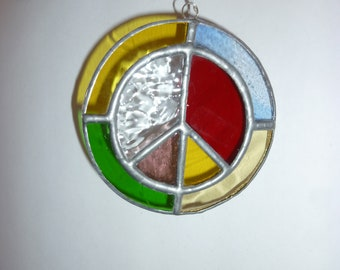 Stained glass peace  mark circle. suncatcher.