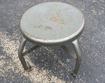 Mechanic/Shop Metal Stool with Rolling Caster Wheels