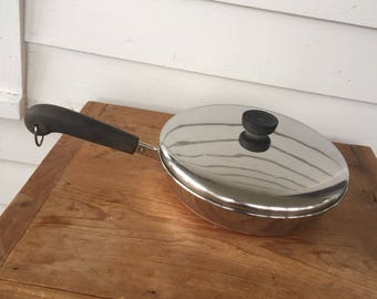Revere Ware Medium Sauce Pan with Lid and Copper Bottom Mid Century Modern