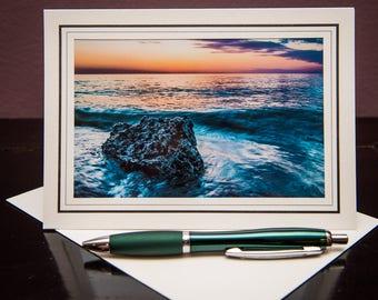 Blue Sunset No.2-Greeting Card-Note Card-Travel-Home Office Decor-Matted Art Print-Gift-Photo-Art-Blue-Nature-Rock-Beach-Beautiful-Sky-Love