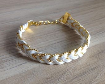 """Bracelet """"Anais"""" braided suede and gold plated ball chain"""
