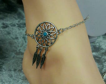 Turquoise dream catcher foot jewelry