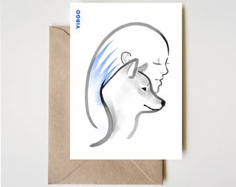 Virgo Shiba Card, Horoscope Dog Sumi-e Ink Painting Zen B&W Illustration February Birthday Cute Zodiac Drawing