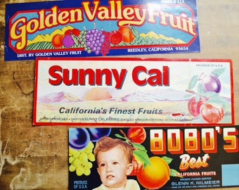 Three California Fruits Fruit Box Labels