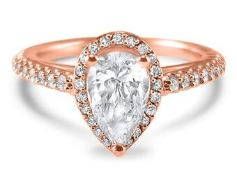 14k Rose Gold natural pave diamond and Forever ONE Pear moissanite halo engagement ring -pear engagement ring -pear  Charles & Colvard