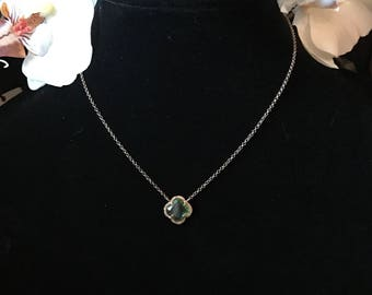 Quatrefoil green crystal gold plated sterling silver necklace