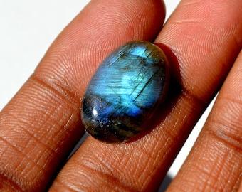 Labradorite Cabochon 12.5 Cts Natural Blue/Green Fire Both Side Polished Oval Shape Labradorite Loose Gemstone 21x14x5 MM R14455