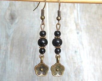 fancy, romantic flowers, black beads dangle bronze earrings black
