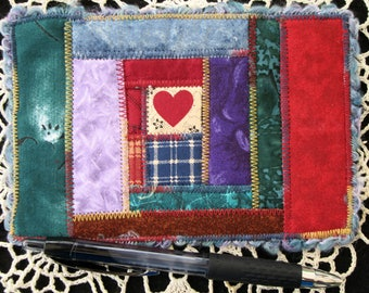 Red Heart Quilted Postcard, Handmade Fabric Card, Greeting Card, Friend's Gift, Fiber Art Card, Unique Gifts