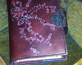2 books-in-one Cherry Blossoms Book Cover, Double Book Cover, Gifts for Her, Gifts for Wife, Book Cover, Leather Crafted Book Cover,