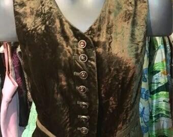 1980' olivegreen velvet vest. Size S.