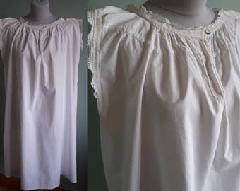 Victorian shift cotton nightgown vintage chemise white. Antique nightdress small medium lace edging slip lingerie
