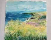 cornish coastal art, acry...
