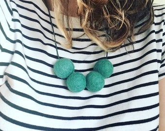 Felt Flamingo felt ball necklace in teal, felt balls, statement necklace, handmade, quirky