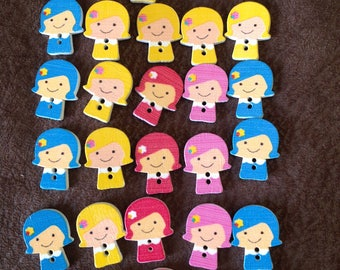 Wooden girl button set of 28