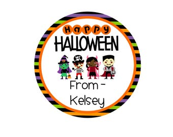 Personalized Happy Halloween Treat Bag Sticker - Custom Halloween Treat Bag Labels - Party Favor Sticker - Trick or Treat - Fast Shipping