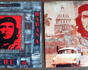 Set of 2 cards postcard ChE Guevara. Polish art print on paper. 14 X 14 Cm