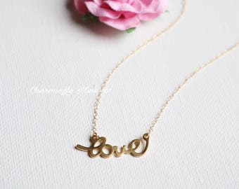 "14k Gold filled ""LOVE"" necklace. Dainty necklace. Bridesmaid necklace. Wire wrap necklace"