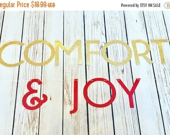 Christmas in July Sale Christmas Comfort & Joy Glitter Banner, Holiday Banner, Christmas Party Banner, Various Colors, Christmas Decorations