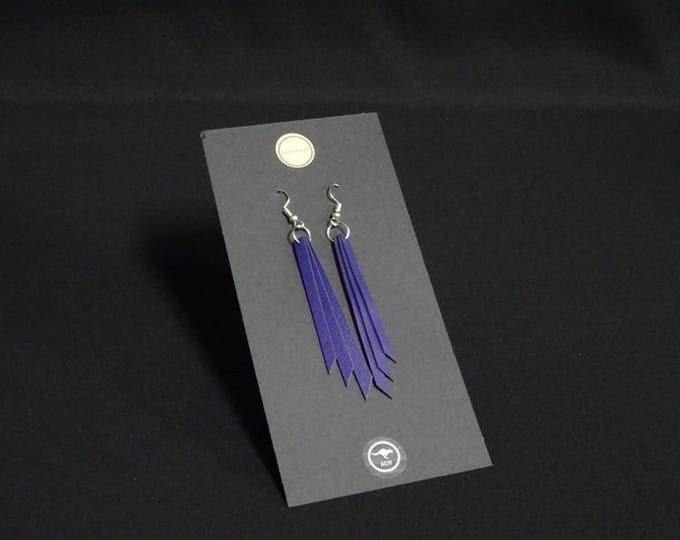 Triple Earring - Purple - Handmade in Australia using genuine Australian kangaroo leather.