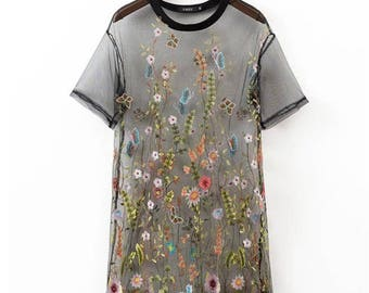 DE-FLOWER ME!! trendy floral embroidered mesh dress **free shipping**