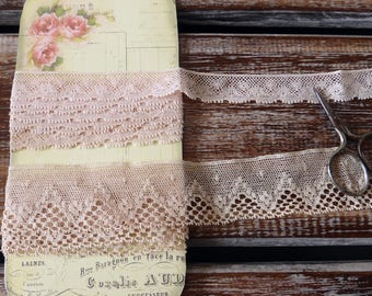 Vintage peach and beige lace