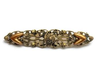 1930's Ornate Brass Filigree Bar Pin Brooch