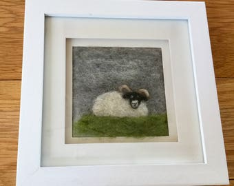 Needlefelted fibre art picture of 'Rambo' the Ram in a frame.