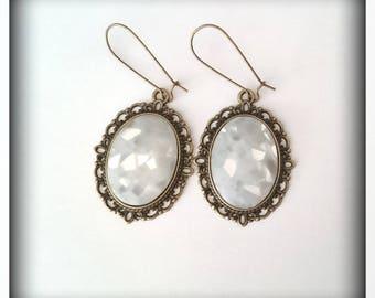 Earrings glitter resin cabochons
