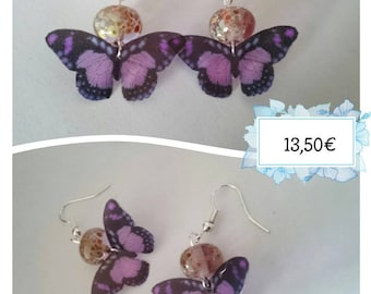Unique butterfly earrings and the Lampwork beads