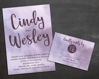 Watercolor Wedding Invitation {deposit}