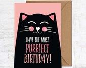 Drôle de chat carte, carte d'anniversaire chat, chat amoureux cadeau, carte d'anniversaire drôle mignonne carte d'anniversaire carte, carte anniversaire Animal, ami (e) anniversaire