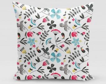 Retro Flowers Square Pillow   Home Decor   Studio Carrie   Gift