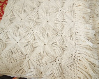 Woven Bedspread - Vintage Bedding  - Cream Knit/Crochet Spread Cover Afghan Big Throw -  Full Twin Bed Sized Counterpane