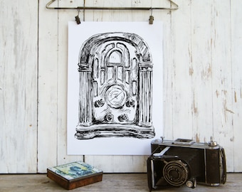Bedroom Wall Decor, Antique Radio Poster, Rustic Wood Sign, Bedroom wall Art, Country Chick, Office Decor, Black And White Printable