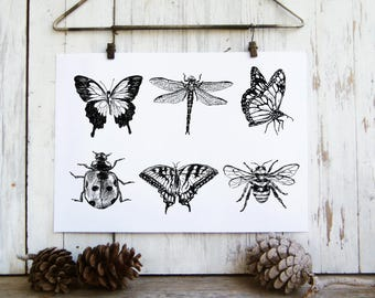 Bedroom Decor, Insects Printable, Butterflies Wall Hanging, Bugs Print, Butterfly Wall Art, Dragonfly Wall Decor, Gift Under 10