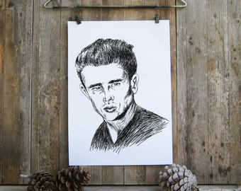SVG File, James Dean Portrait, JPG File, Printable Wall Art, James Dean Poster, James Dean Art, James Dean print, Wall decor, Gift For Him