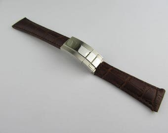 20mm Brown Leather Strap with Stainless Steel Clasp for Rolex Daytona