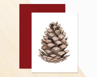 Pinecone Watercolor Holiday Card, Holiday Pinecone Card, Pinecone Greeting Card, Pinecone Card