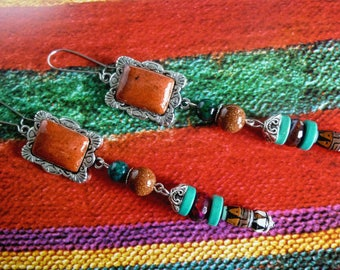"Pierced ear ethnic ""Terracotta"" silver, handmade cabochon, gemstones, ceramic"