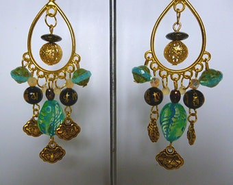 "Ethnic earrings ""MANTRA"", gold tone metal, Czech glass green water, black Agate, engraved charms, ""OM"" sign"