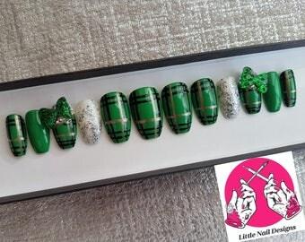 Irish Green Tartan | St Patrick's Day | Swarovski Crystals | Ireland | Scottish | Scotland | Plaid | Little Nail Designs