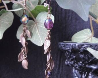 """Ancient Nature ornaments"" - Purple earrings"