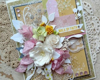 "Beautiful Handmade Shabby Chic Pink, Yellow, Green ""Walk by Faith"" Encouragement Greeting Card #WC2017-17"