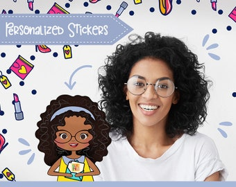 80+ Planner Stickers that Look Like YOU! Hello Spring Pack! For a Girl with a Brown Toned Skin, Long Hair. Choose hair and eyes color/type!